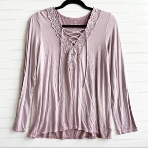 American Eagle Dusty rose  Soft & Sexy Long Sleeve V-Neck top size MEDIUM